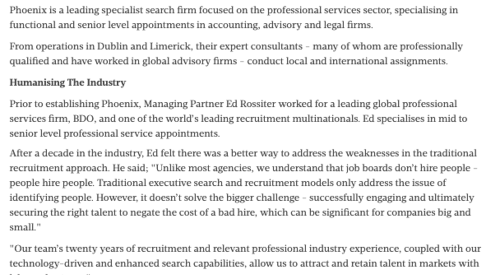 Specialist Search Firm Phoenix Strengthens Presence with Additional Senior Hires - Sunday Business Post